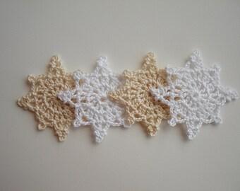 Crochet Snowflakes, Christmas Decorations, Christmas Tree Appliques, Vintage Pale White & Snow White Snowflakes, Decorative Motifs, Set of 4
