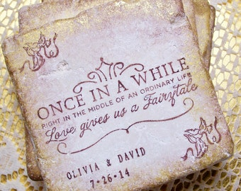 Fairy Tale Coasters, Personalized Wedding Gift Once in a While Right in the Middle of an Ordinary Life, Set of 4, Wedding Registry