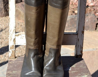 vtg Grey Taupe Leather Lizard Embossed Tall Riding Boots Italy U.S. Size 7 Euro 37.5