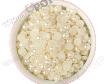 10MM - Ivory Cream Pearl Flatback Decoden Cabochons,  Half Pearl Cabochons, Flat Pearls, Flat Back Pearls, 10MM (R4-080)