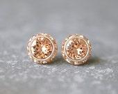 Peach Bridesmaid Earrings Bride Wedding Jewelry Swarovski Crystal Light Peach Rhinestone Halo Stud Earrings Clip on Peach Wedding Bridal