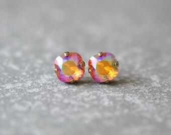 Rainbow Orange Earrings Swarovski Crystal Rare Madarin Orange Aurora Borealis Rainbow Square Stud Earrings Rounded Square Mashugana