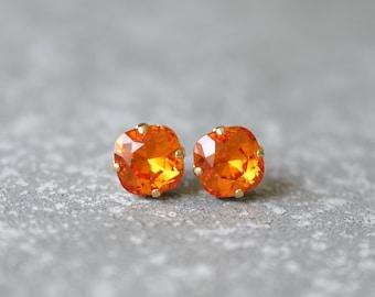 Tangerine Orange Earrings Swarovski Crystal Mandarin Orange Super Sparklers Square Studs Mashugana