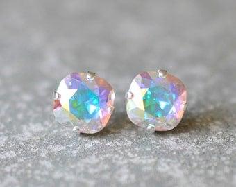 Aurora Borealis Stud Earrings Swarovski Crystal Earrings Light Swarovski Pastel Rainbow Super Sparklers Studs Mashugana