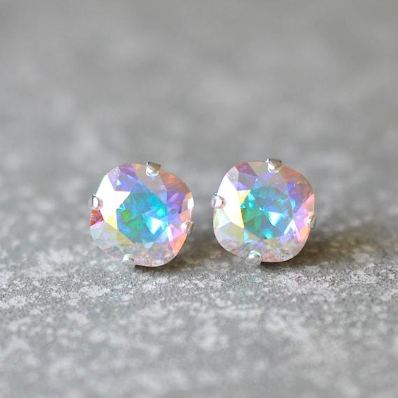 Aurora Borealis Stud Earrings Swarovski Crystal Earrings Light