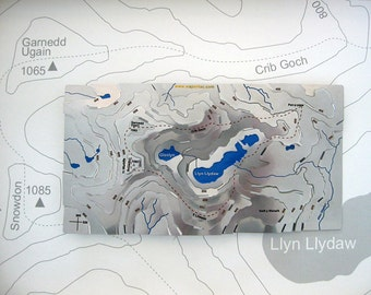 Snowdon / Yr Wyddfa Wapenmap : hand painted stainless steel contoured map sculpture