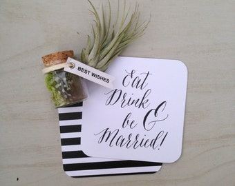Wedding Coasters - Paper Coasters, Ultra Thick, Stripes, Paper Goods, Wedding Coasters, Calligraphy