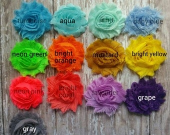Shabby Rose Hair Clips- You pick from 33 colors