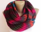 Winter Scarf Knit Infinity Scarf colorblock scarf women knit infinity scarf Extra SOFT neckwarmer lilac, circle scarf, rainbow senoAccessory