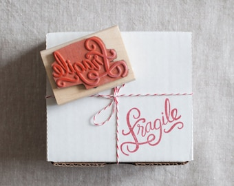 fragile rubber stamp - hand lettered calligraphy stamp for DIY packaging and mailing