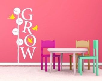 Growth chart - GROW with birds - wall decal