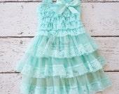 Lace flower girl dress, Aqua flower girl dresses, Teal lace dress, girls lace dress, baby lace dress, toddler dress, blue girls dress