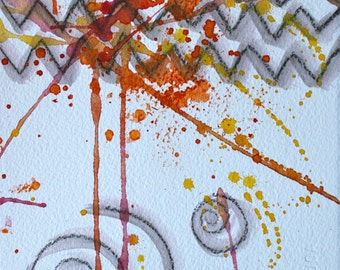 SALAbstract original painting 7 3/8 x 5 3/4 inches -contemporary water color-gray-red-orange-yellow-modern art-abstract