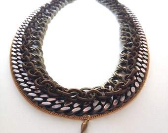 Copper and Brass Multi-Chain Necklace - Handmade