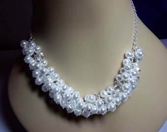 Pearl and Crystal Cluster Necklace, Bridal Wedding Necklace Bridesmaid Jewelry Chunky Necklace Mothers Day Gifts Silver