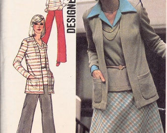 "1970's Misses Cardigan Sleeveless Top Skirt & Pants Simplicity 6516 Vintage Womens Sewing Pattern Bust 44-46"" Plus Size"