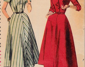 1950's Misses' Rockabilly Shirtwaist Dress Vintage Womens Sewing Pattern Simplicity 4430 Bust 30