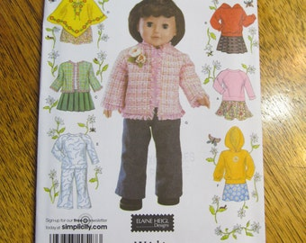 """MODERN Wardrobe for 18"""" Dolls - Coat, Jacket, Pullover, Pants and Boots - UNCUT Sewing Pattern Simplicity 4297"""