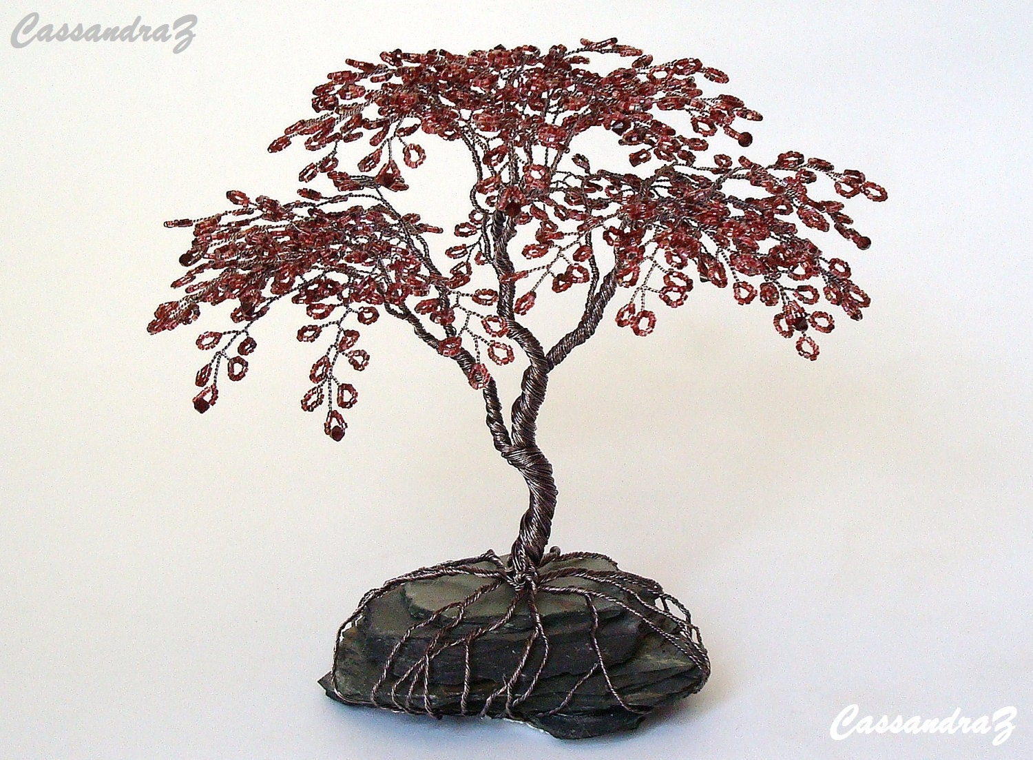 Japanese Maple Beaded Bonsai Wire Tree Sculpture by CassandraZ