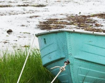 Saco Maine boat tied down DIGITAL IMAGE