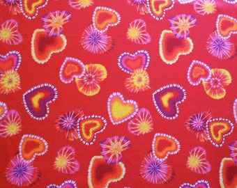 SALE: Tie Dye Look Hearts on Red, Cotton Fabric