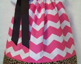 CHEVRON Pillowcase Dress / Pink / Leopard / Cheetah / Animal Print / Newborn / Infant / Baby / Girl / Toddler / Custom Boutique Clothing
