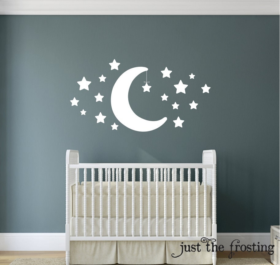 new wall decal star and moon wall decal star decal. Black Bedroom Furniture Sets. Home Design Ideas