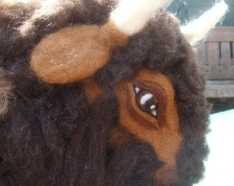 Needle Felted Bison/Buffalo Sculpture OOaK Southwestern Wild Life Artist Created X Large Sculpture