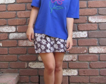 Purple Blue Large Flower T-shirt 80s