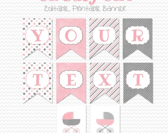 Baby Girl Shower Banner, Printable Party Decoration, Pink and Gray, Baby Carriage Baby Shower Decor  - Editable, Printable, Instant Download