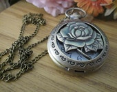 Victorian Style Copper Tone Rose Watch Necklace / Rose PocketWatch Necklace, Vintage
