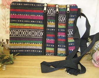 3 Zippered Front Pockets Textile Tribal Printed Cross Body Bag - Vintage
