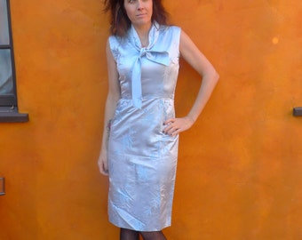 Light Blue Wiggle Dress japanese inspired 50's 60's w/ bow