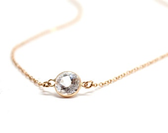 14k Solid Gold Crystal Quartz Solitaire Necklace - Small Gemstone Necklace  - Bridesmaids Jewelry -