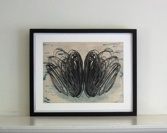"""TAKE an additional 25% OFF everything. Use code 25OFF. Original  Etching . Blue and Black Home Decor : Loop. Print Size 15"""" x 19"""" . Unframed"""