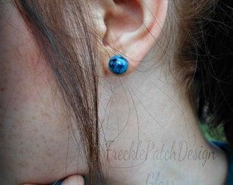 Memory Cremation Glass Stud Earrings,  Handmade Lampwork, Encased Pet Ashes