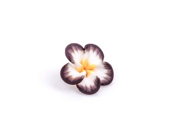 "4 Polymer Clay Flower Pansy Plumeria Violet Beads . 25mm (1"") . BROWN, YELLOW, WHITE pol0039"