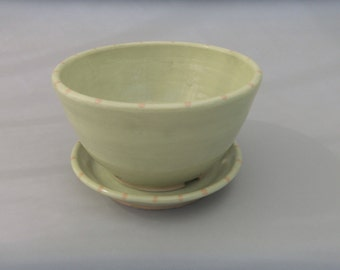 Ceramic Berry Bowl / Colander - Spring Green Dotted with Pink