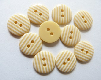 Pale Yellow 10 x 15mm High Quality Stripe Stripy Buttons