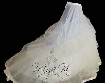 Bridal Prom Petticoat underskirt Slip skirt for Ball Gown Chapel train EXTRA FULL White