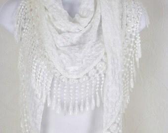 Lace Fringe Scarf Creamy White Lace with Venise Venice Lace Shawl Handmade Fashion by Thimbledoodle