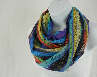 Multicolor Striped Infinity Scarf of Many Colors Lace Knit Scarf in Rainbow Colors by Thimbledoodle