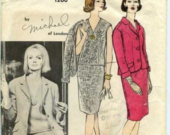 1960s Michael of London Vogue Couturier Design 1266 Misses Three Piece Suit Fitted Jacket Slim Skirt Blouse Vintage Sewing Pattern Bust 38