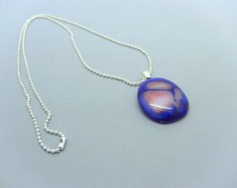 Deep Blue and Orange colored Fused Glass Pendant