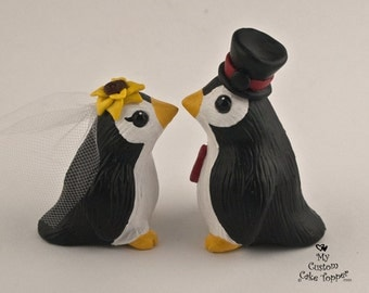 Cute Penguins Wedding Cake Topper