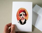 Children art print. Blank greeting card. Affordable nursury decor. Boy wall art. Pirate birthday card. Watercolor print. Original note card.