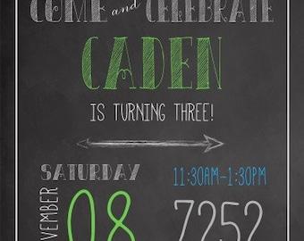 Chalkboard Pennant Birthday Invitation