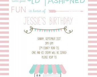 Retro / Vintage Ice Cream Party Invitation