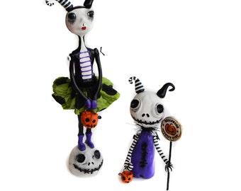 Halloween Art Doll - Halloween Devil - Spooky Halloween - Halloween Skelly