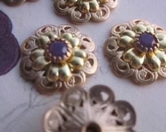 Vintage Purple Opal Swarovski  Flowers
